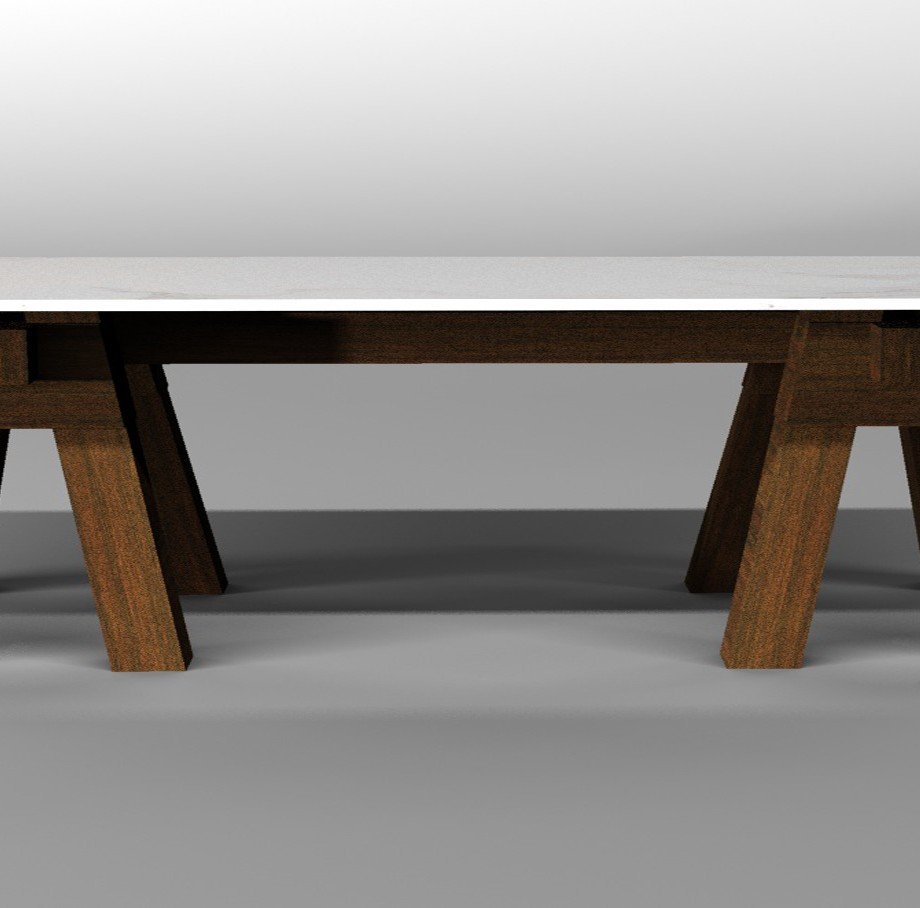 The carpenter's table white marble